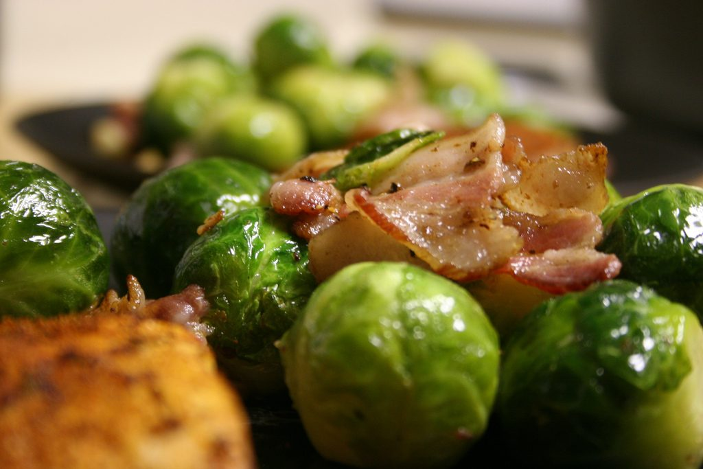 Pan Roasted Brussel Sprouts with Bacon - Thanksgiving food